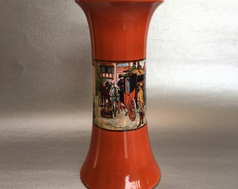L & Sons Antique Red Lusterware Pottery Vase made in England