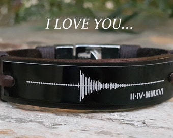 EXPRESS SHIPPING - Custom Sound Wave Bracelet Personalized Leather Bracelet Voice Wave Engraved Memorial Gift Anniversary Gift for Him