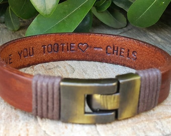 Personalized Valentine Gift For Him, Hidden Message, Hand Stamped Custom Quote Leather Jewelry, Men Anniversary Gift, Fiance Gift, Mens Gift