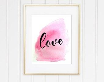 LOVE Watercolor Pretty Script Pink Printable PDF