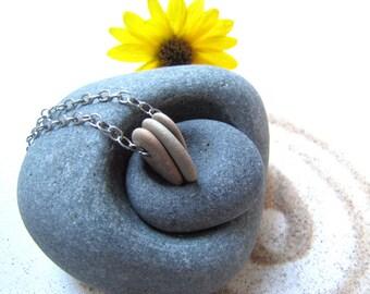 Pebble necklace, Lake Michigan Beach Stone necklace, Raw Stone necklace, beach wedding necklace, Lake Stone necklace, Michigan gift
