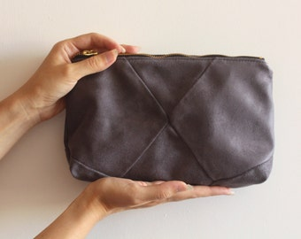 Gray Evening Clutch /Gray bag - Women's bag /Gray clutch / Evening clutch purse - evening bag / Vegan bag - Faux suede clutch