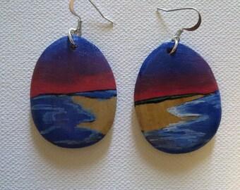 Painted Scene Wood Earrings--red sky 1