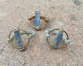 Blue Kyanite Leather Ring