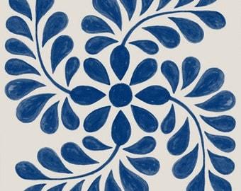 Tile Decals - Tiles for Kitchen/Bathroom Back splash - Floor decals -  Mexican Indigo Pinwheel Vinyl Tile Sticker Pack