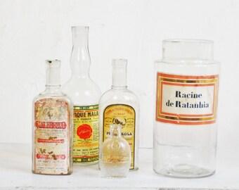 5 bottles vintage bottles pharmacy