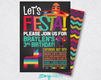 Fiesta Invitation / Fiesta Birthday Invitation / Chalk Fiesta Invitation / Fiesta Party / 1st Birthday Fiesta / Birthday Fiesta Printable