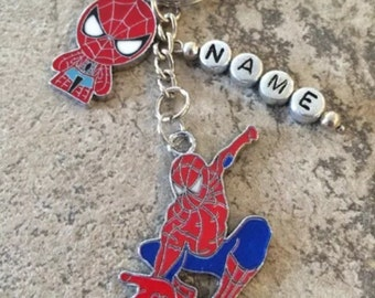 Personalised Spideman Inspired Keyring Gift/ Stocking Filler with Pillow Gift Box