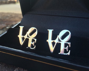 Love Statue Cufflinks in Sterling Silver