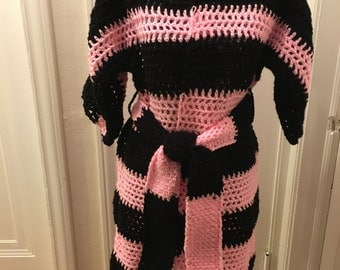 Pink and Black Cardigan Sweater Jacket