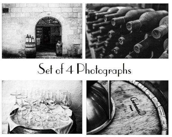 Black And White Wine Wall Decor : Black and white wine prints photos dining by