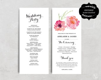 Printable wedding program template, Peony Floral Wedding Program, DIY wedding program. Editable text, Tea Length, Pink Peony, VW13
