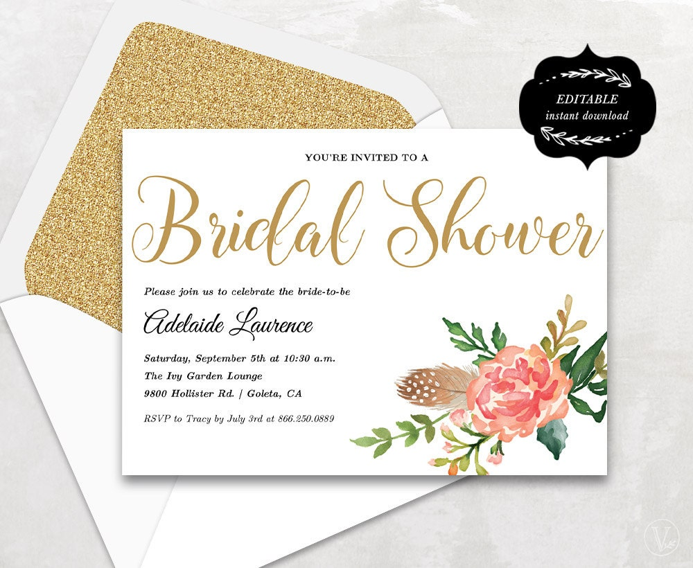 Refreshing image regarding printable bridal shower invites