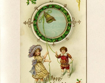 Vintage New Year Postcard Victorian Children Ringing Gold Bell Circle of Holly Leaves and Berries Glossy Embossed Used Post Card - 5005Pe