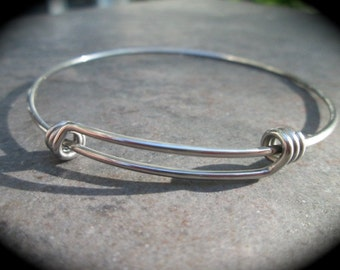 STAINLESS STEEL bangles adjustable wire bangle bracelet blanks sold per piece Beautiful Quality 2 1/2""