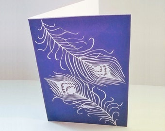 Art cards, Handmade greeting cards, Peacock feathers, Linocut print, Birthday card, Wedding card, Mothers day card, Hand pulled print, Purpl