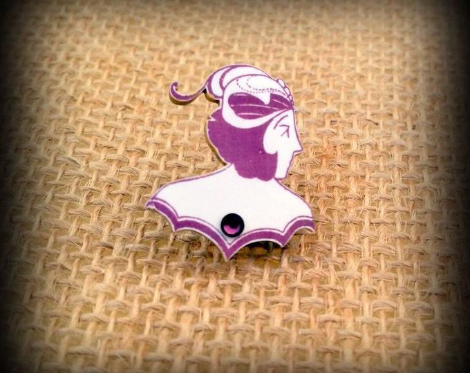 Flapper Pin - Flapper Brooch - Vintage flapper Image - Purple Flapper - 1920s Flapper - Amethyst Flapper Pin - Shrinky Dink Pin - Handmade
