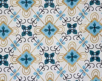 Turquoise, royal blue and gold geometric diamond pattern on white cotton - vintage 60's fabric with gold accents