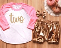 "Bright Pink & Gold Toddler Girl Second Birthday ""Two"" Outfit With Baseball Tee, Gold Metallic Shorts, and Hair Bow"