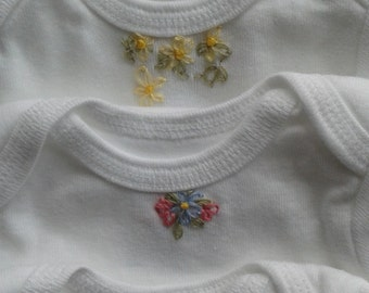 set of 2 onsies, 9 month onsies, adorable flower onsies, cotton onesies