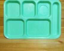 Vintage Kitschy Seafoam Green Zylon Divided School Cafeteria Lunch Tray Camper Kitchen