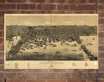 Duluth Minnesota Vintage Print Poster Map 1887 Poster of MN Map Art Wall Decor