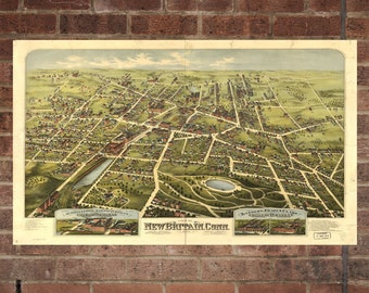 New Britain Connecticut Vintage Print Poster Map 1875 Poster of CT Map Art Wall Decor