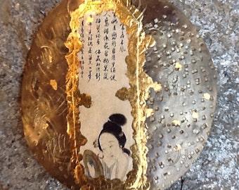 """Shawl pin patinated brass machine. """"Geisha"""""""