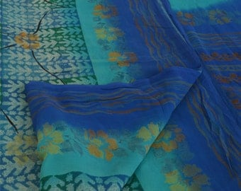 KK Pure Georgette Silk Saree Blue Printed Sari Craft Decor Fabric