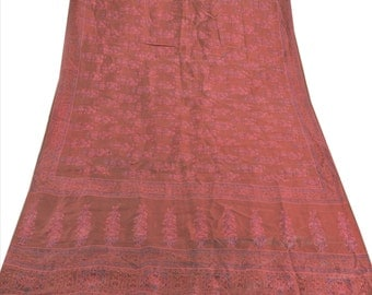 KK Pure Silk Saree Maroon Printed Sari Craft Fabric 5 Yard
