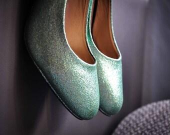 Wedding heels Mint Wedding heels mint high heels low heels flats mint glitter wedding shoes bridal shoes blue SIZE 6.5