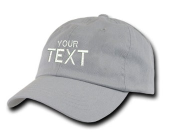 Grey Dad Hat Custom Embroidered Baseball Cap, Your Own Personalized Hat Custom Hat on a Curved Brim Baseball Cap, Choose Your Text