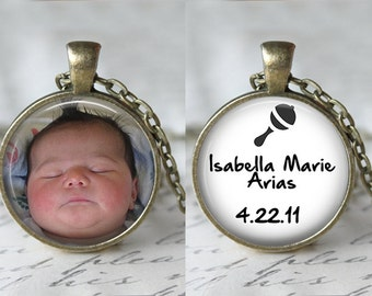 CUSTOM DOUBLE SIDED Reversible personalized pendant necklace or keychain