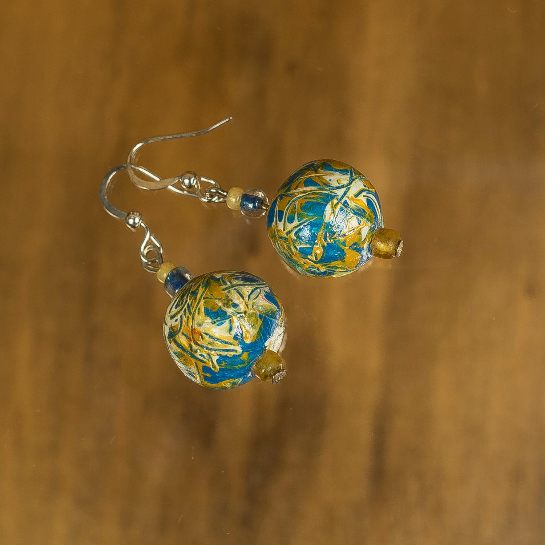 Ceramic Bead Beads: Ceramic Earrings Blue Drop Bead Earrings By GlossyPapierRecy