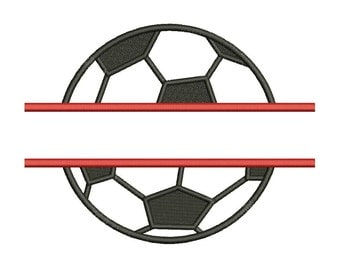 Soccer Football Split Embroidery Design Machine Applique Embroidery Designs 6 Size - INSTANT DOWNLOAD