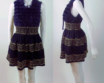 90s streetstyle star LBD fur gathered Gothic Sequins Lace elastic ruched shift dress