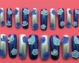 Dark blue nails, Light Blue nails, alternating nail art, alternating colors, press on nails, long nail tips, acrylic nail art, 3D nail art