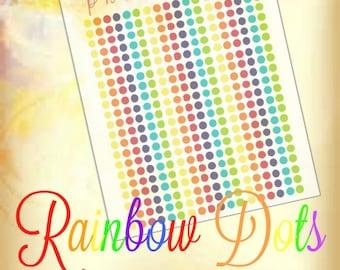 Rainbow Mini Dots  || PRINTABLE  || Life Planner Stickers