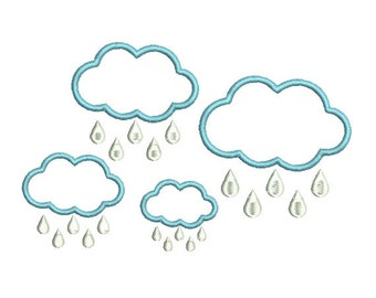 Applique Cloud with Raindrops Embroidery Design in 4 Sizes - INSTANT DOWNLOAD