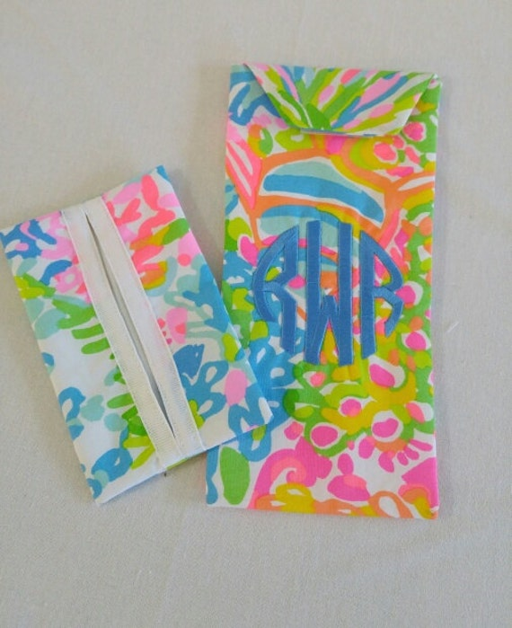 625a368a64 Monogrammed Lilly Pulitzer Eyeglass Case and Pocket Tissue