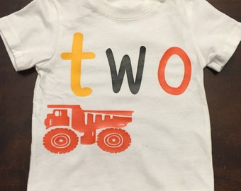 Little boys birthday dump truck shirt