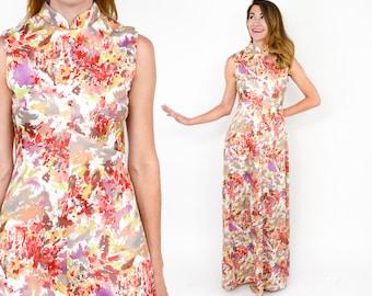 70s Floral Maxi Dress | Orange Coral Print Long Summer Dress |