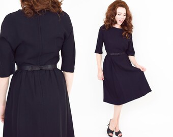 50s Little Black Dress | Rayon Crepe Sheath Work Dress with Bow Belt | Small