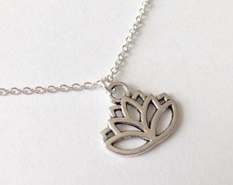 Silver Lotus Necklace/Antique Silver Lotus Necklace/Lotus Flower Necklace