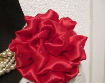 Fabric Flower Corsage, Red Satin Flower Corsage, Mother of the Bride, Corsage