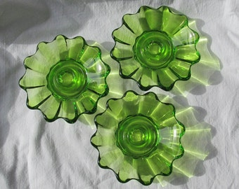 Vintage Candle Holders Green Glass Set of 3