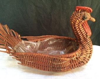 Vintage Bird Shaped Turkey Hen Woven Basket 1970's- 80's  B400