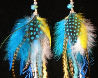 Blue and Yellow Feather Earrings