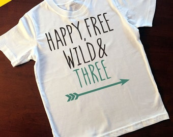 Happy Free Wild & Three Kids T-Shirt - 3rd Birthday