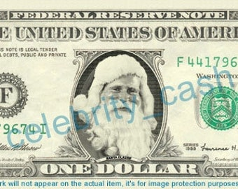 Santa Claus REAL Dollar Bill - Great stocking stuffer idea!